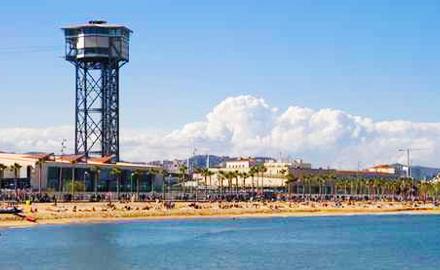 Plage de Sant Sebastia à Barcelone